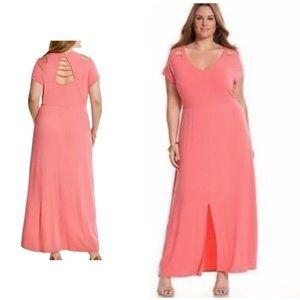 Lane Bryant coral pink maxi dress